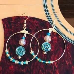 Gold Beaded Hoop with Turquoise Rose Dangle